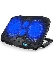 مروحة تبريد هادئة للاب توب من رايمون مزودة بمخرجين USB لحامل لاب توب مزود بشاشة ال سي دي LCD واضاءة LED زرقاء مقاس 10-15.6 بوصة