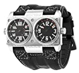 Police Men's PL-12899XS/02 Dominator Wide Black Dual-Time Leather Watch, Watch Central