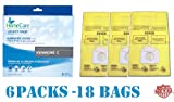 Includes 18 Kenmore Style C, 5055 Premium American Made Scented Vacuum Bags by Home Care. Designed to fit all Kenmore Canister Vacuum Cleaners made since 1995, including the Whispertone, Intuition, Progressive, PowerMate and others. Designed for Kenm...