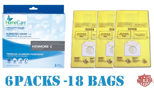 18 Spring Scented Kenmore 5055 Canister Vacuum Bags, 6 Pks of 3 Bags. Proudly Made in USA by Kenmore