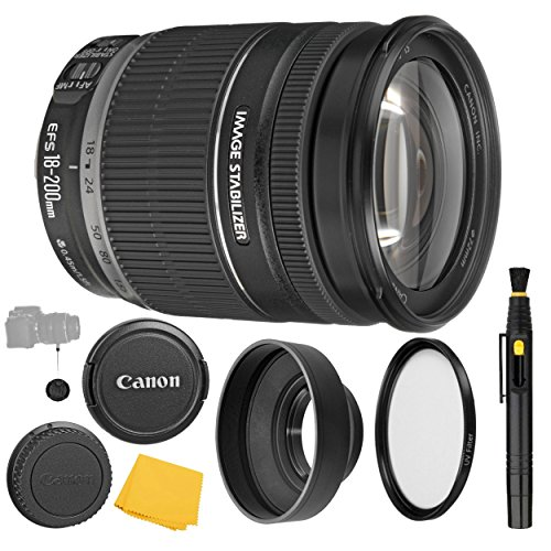 (Canon EF-S 18-200mm f/3.5-5.6 is Lens + UV Filter + Collapsible Rubber Lens Hood + Lens Cleaning Pen + Lens Cap Keeper + Cleaning Cloth - 18-200mm is: Image Stabilizer Lens - International Version )