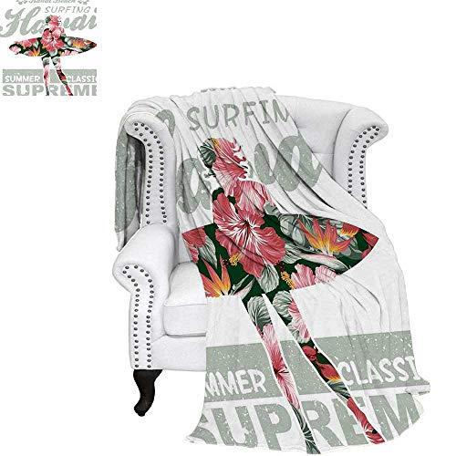 WilliamsDecor Hawaiian Oversized Travel Throw Cover Blanket Tropical Hawaii Hibiscus Surfing Girl Silhouette Surfboard Retro Themed Artprint Travel Throw Blanket 70