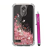lg 3 gold - LG Stylo 3 Glitter,LG Stylo 3 Plus Case,LG Stylus 3 Case,Cattech Glitter Liquid Sparkle Floating Luxury Bling Quicksand [Drop Protection][Non-slip Grip] Slim Clear Soft TPU Cover + Stylus (Rose Gold)