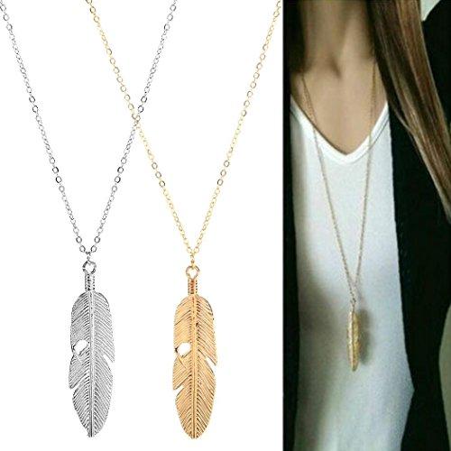 Gonikm Women Jewelry Feather Pendant Chain Necklace Long Sweater Chain Statemen Jewelry Sets