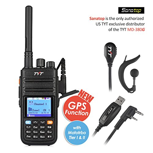 Uhf Gps - TYT Tytera Upgraded MD-380G DMR Digital Radio, with GPS Function! UHF 400-480MHz Two-Way Radio, Walkie Talkie Compatible with Mototrbo, Transceiver with 2 Antenna & Programming Cable & Earpiece