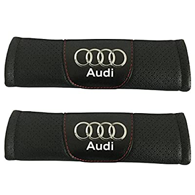 Jimat 2pcs Audi Logo Black Leather Car Seat Safety Belt Strap Covers Shoulder Pad Accessories Fit For Audi A3 A4 A5 A6 A7 A8 Q3 Q5 Q7 Q8: Automotive