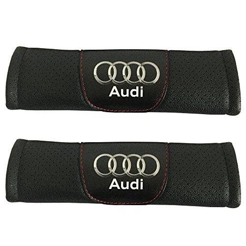(Jimat 2pcs Audi Logo Black Leather Car Seat Safety Belt Strap Covers Shoulder Pad Accessories Fit For Audi A3 A4 A5 A6 A7 A8 Q3 Q5 Q7 Q8 )