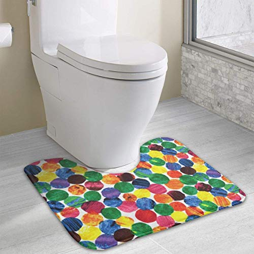 Beauregar The Very Hungry Caterpillar Abstract Dots Bath Rugs,U-Shaped Bath Mats,Soft Polyester Bathroom Carpet,Nonslip Toilet Floor Mat 19.2″x15.7″