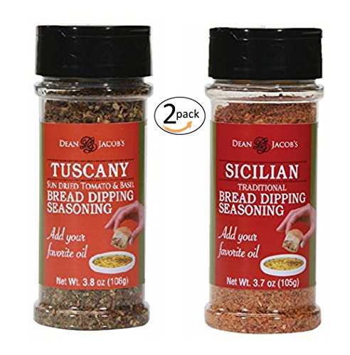 - Dean Jacob's Bread Dipping Blend, Tuscany 3.8 oz and Sicilian 3.7 oz Stacking Jar 2 pack