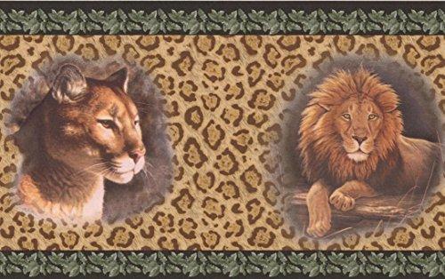 Lion Jaguar Pictures on Leopard Print Wall Beige Animal Wallpaper Border Retro Design, Roll 15' x 7''