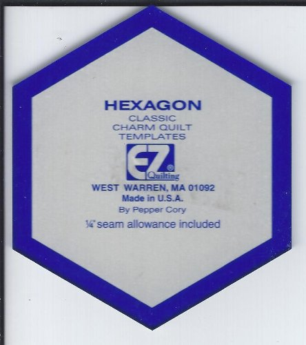 """EZ QUILTING HEXAGON CLASSIC CHARM QUILT TEMPLATE- 1/4"""" SEAM ALLOWANCE"""
