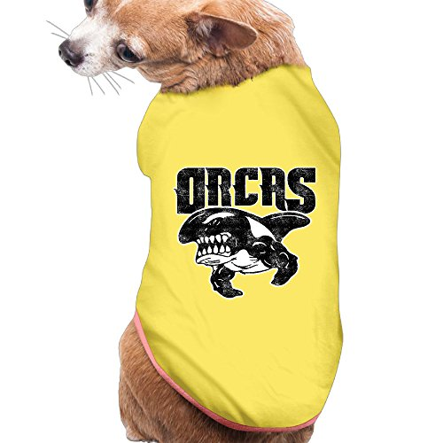 Orca Whale Dog Costume (Puppy Pet Dog Cat Fashion 100% Polyester Fiber Cartoon Cool Vintage Orcas Summer Costumes, Clothing, Shirt, Vest, T-shirt, Tee Gift For Any Animal Fan Lovers Yellow Large)