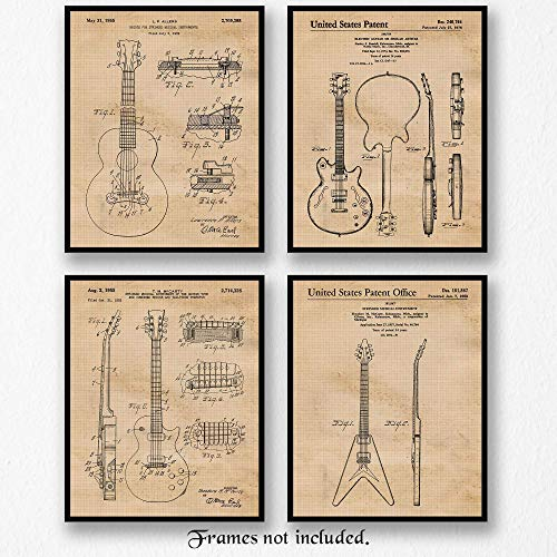 Original Gibson Guitar Patent Art Poster Prints- Set of 4 (Four 8x10) Unframed Vintage Style Pictures- Great Wall Art Decor Gifts Under $15 for Home, Office, Man Cave, School, Teacher, Musician