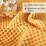 EMME Cotton Thermal Blanket in Waffle Weave- Soft Cozy Cotton Blanket Hypoallergenic Breathable Daycare Bed Blankets Travel Throws (Yellow, Throw)