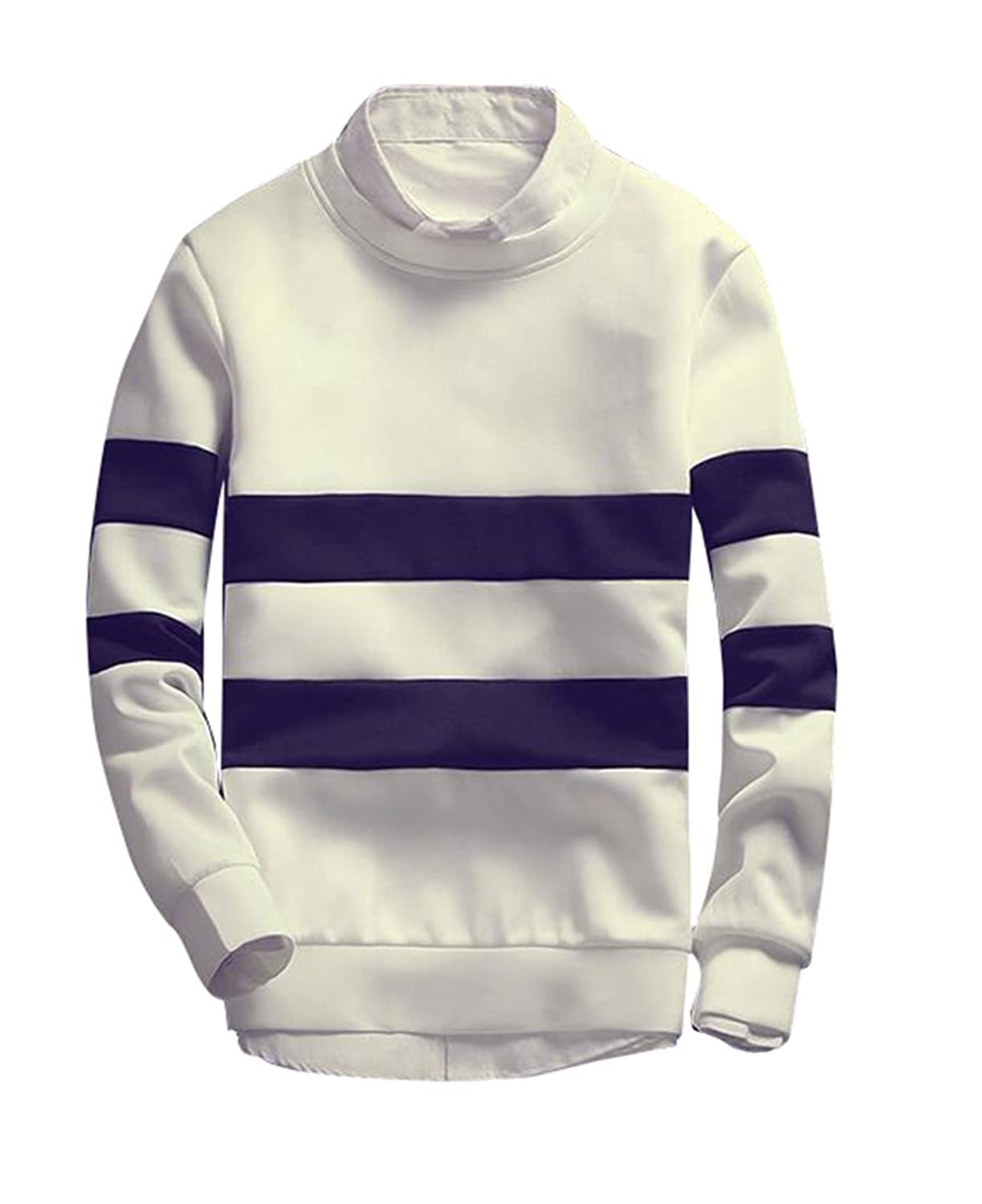 BYBU Men's Kinder Rugby Striped Crew Sweater