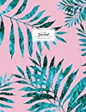 Dot Grid Journal - Emerald Palm Leaf On Pink: Large Tropical Notebook (Empty Journals To Write In)