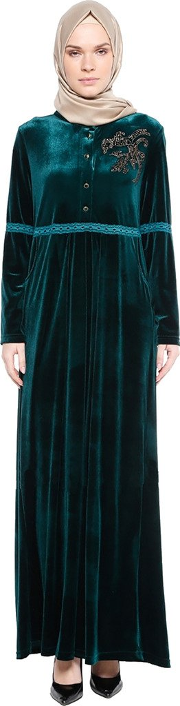 YI HENG MEI Women's Modest Muslim Loose O-Neck Rhinestones Solid Gold Velvet Full Length Abaya,Dark Green,Tag L = US Size 8-10