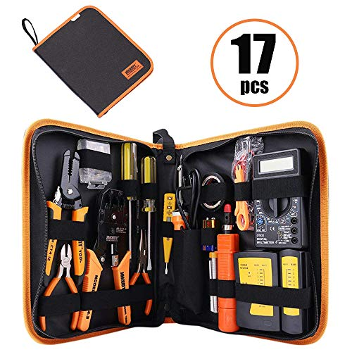 Computer Tool Kits - Professional 17 in 1 Network Crimp Tool Kits - RJ45/RJ11 Connectors, LAN/Cat5/Cat6 Cable Tester, Stripping / Crimp Pliers Tool, Wire Punch Down, Soldering Iron kit (17 in 1) - Office Tools Pc