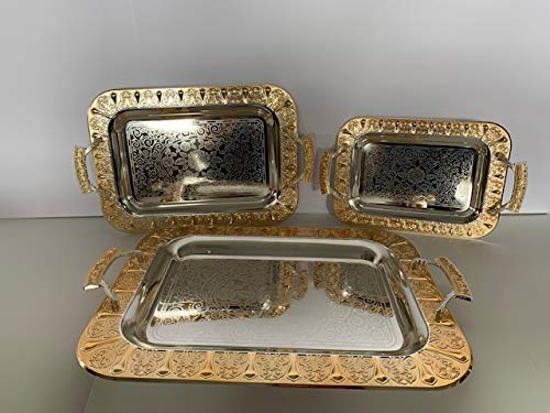 Luxury Linen Beautiful Decorative 3 Pieces Stainless steel Tea & Coffee Serving Tray Gold/Silver Plated Serving Tray Rectangle Platter Glossy,Party Serving With Metal Handles New (2234)