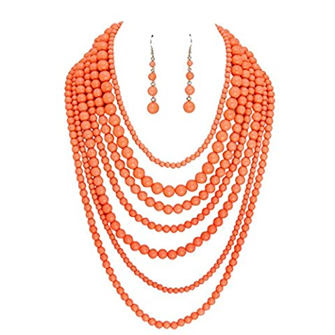 Rosemarie Collections Women's Fashion Jewelry Set Beaded Multi Strand Bib Necklace (Coral) - Coral 3 Strand Necklace