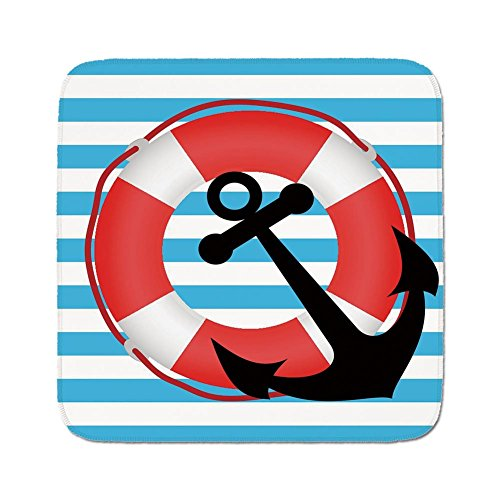 Cozy Seat Protector Pads Cushion Area Rug,Anchor,Blue Striped Backdrop with Lifebuoy and Anchor Aboard Travel Protection Decorative,Sky Blue Red Black,Easy to Use on Any Surface