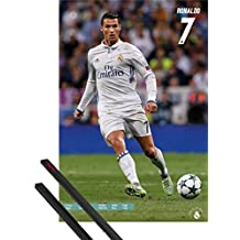 Poster + Hanger: Football Poster (36x24 inches) Real Madrid, Ronaldo And 1 Set Of Black 1art1® Poster Hangers