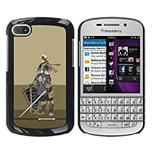 Shell-Star Arte & diseño plástico duro Fundas Cover Cubre Hard Case Cover para BlackBerry Q10 ( Knight Warrior Beige Armor Sword )