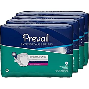 Prevail Extended Use Incontinence Briefs, Large, 18-Count (Pack of 4)