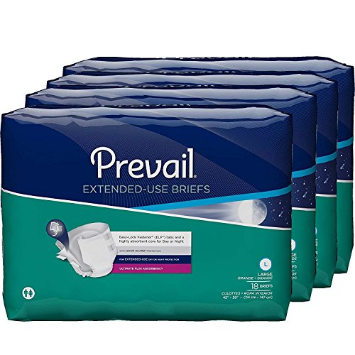 (Prevail Extended Use Incontinence Briefs Large 18 Count (Pack of 4) Breathable Rapid Absorption Discreet Comfort Fit Adult Diapers for Daytime & Overnight Use )