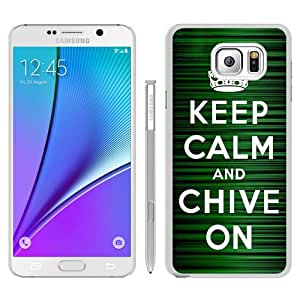 Samsung Galaxy Note 5 Case ,Keep Calm and Chive on white Samsung Galaxy Note 5 Cover Fashionable And Unique Custom Designed Phone Case