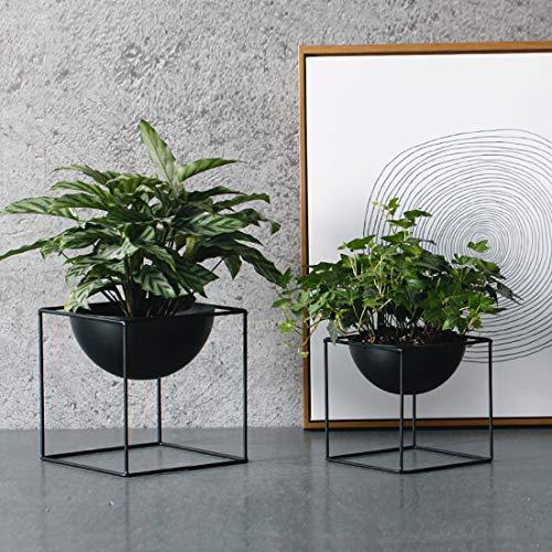 - 2 pcs Set Modern Tabletop Vases Metal Square Flower Plant Pots Square Frame Planters Black Planters Indoor (2pcs Set)