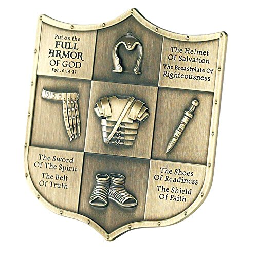 Full Armor of God Ephesians 6 Shield Shape 3.5 inch Table Top Sign Plaque