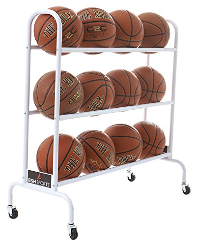 BSN Sports 12 Ball Cart Wide Base (12 Balls), White