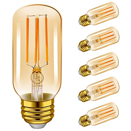 Emotionlite LED Light Bulbs, E26 Dimmable Vintage Edison Tubular Bulb, 40W Equivalent, 2200K Amber, 4W, 300LM, Medium Base, UL Listed, 6 Pack