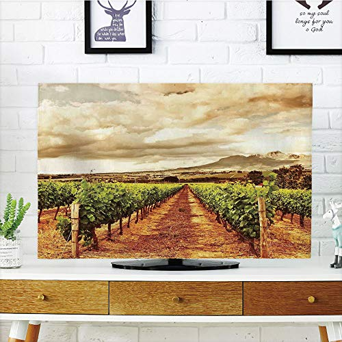 (LCD TV dust Cover Customizable,Farm House Decor,Grape Valley Clouds Over Vineyard Natural Fruit Plantation in Autumn Garden Theme,Green Brown,Graph Customization Design Compatible 47