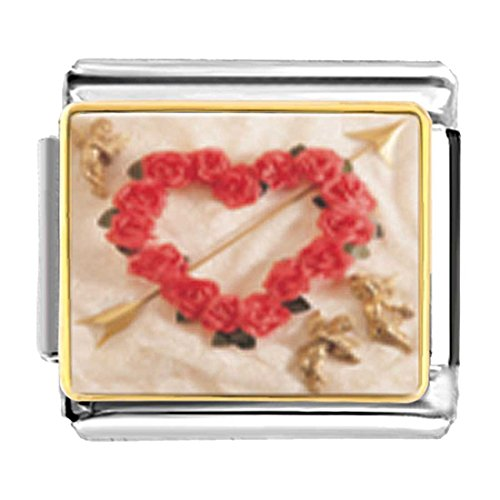 GiftJewelryShop Gold Plated Rose Heart Wreath With Arrow Bracelet Link Photo Italian Charms