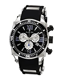 Porsamo Bleu Milan M Silicone With Stainless Steel Inserts Silver Tone, Black & Blue Unisex Watch 034BMIR