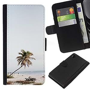 KLONGSHOP // Tirón de la caja Cartera de cuero con ranuras para tarjetas - Árbol Sillas de playa Mar Azul Cielo - Sony Xperia Z2 D6502 //