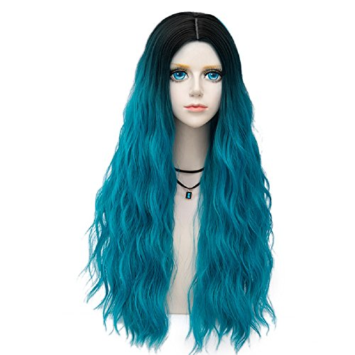 Probeauty Forest Lady Collection Ombre Dark Root Long Curly Women Lolita Anime Cosplay Wig + Wig Cap (70cm, Lake Blue F5) ()