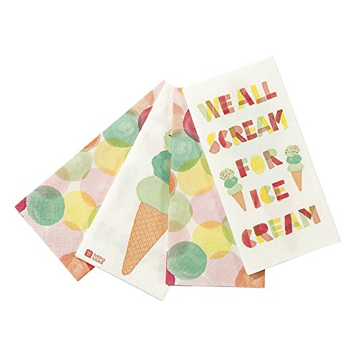 Ice Cream Birthday Invitations (Talking Tables We Heart Ice Cream Disposable Napkins with Ice-cream design for a Birthday or Summer Party, Multicolor (20 Pack))