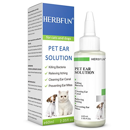 HERBFUN Dog & Cat Ear Cleaner:Pet Ear Yeast Infection Treatment, Ear Solution For Ear Mites Prevention,Drops For Ear Canal Wax Cleaning,Reduces Itching &Head Shaking, Anti - Bacterial & (Ear Yeast Infections)
