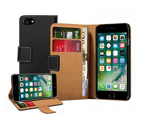 Membrane Funda Apple iPhone 7 Carcasa Cuero Auténtico Negro Piel Ultra Slim Case Flip Cover Cartera S-Line