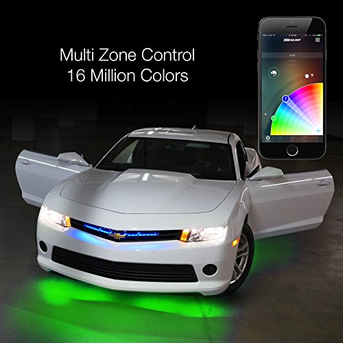 """6pc 10"""" 2nd Gen Flexible Strip Car Interior Grill XKchrome App Control Under Car LED Accent Light Kit Millions of Colors Patterns Dual Zone Music Sync Smart Brake Feature"""