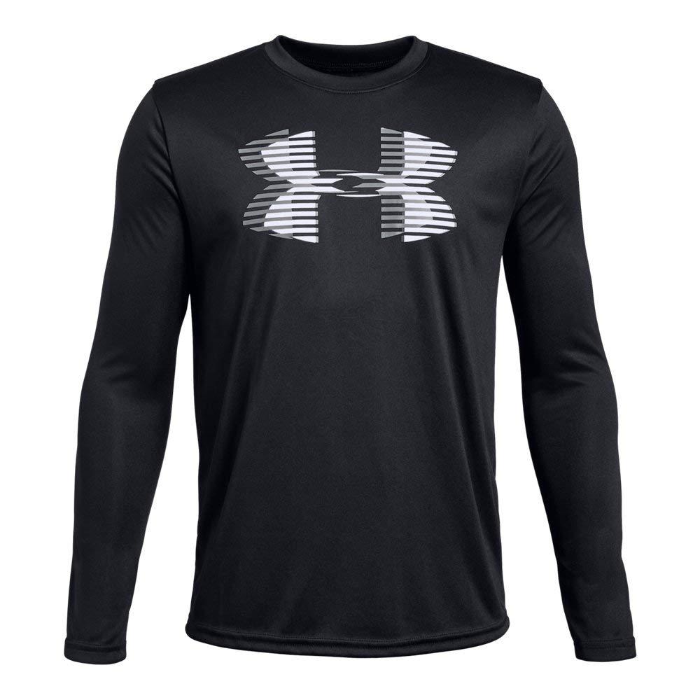 Under Armour Boys' Tech Big Logo Long sleeve Shirts, Black (001)/White, Youth X-Small
