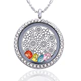 Flower Birthstone Crystal Necklace - Floating Charm Living Memory Lockets Pendant - Gifts for Friendship, Birthday, Mother's Day