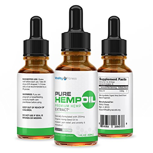 Hemp Oil for Pain Relief - 100% Natural - Promotes Cardiovascular Health - Promotes Relaxation and a Healthy Mind - Rich in Vitamins and Omega Fatty Acids - 30 Day Supply - Cutting Edge Nutrition