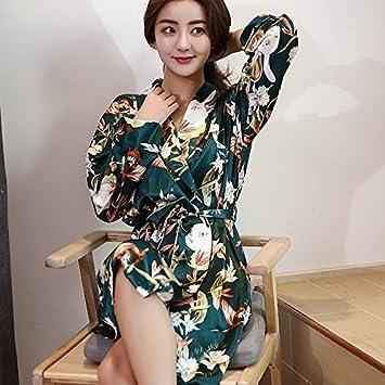 XBR La primavera y el verano de Bata de seda vestidos kimono pijamas cómodos muebles para