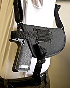 OUTBAGS USA NSH23 (RIGHT) Nylon Horizontal Shoulder Holster w/ Double Mag Pouch. Family owned & operated. Made in USA