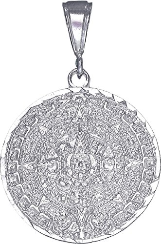 eJewelryPlus Sterling Silver Aztec Calendar Mayan Sun Charm Pendant Necklace Diamond-Cuts (Without Chain)