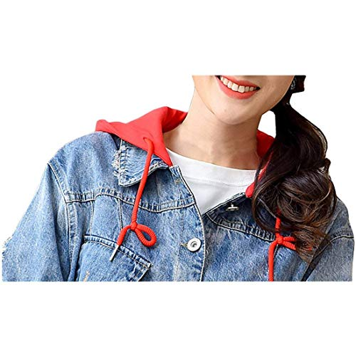 Button Loisir Femme Rouge Baggy Blouson À Manteau Jean Screenes Longues Outerwear Boyfriend Court Printemps Capuchon Manches Fille BaTOq